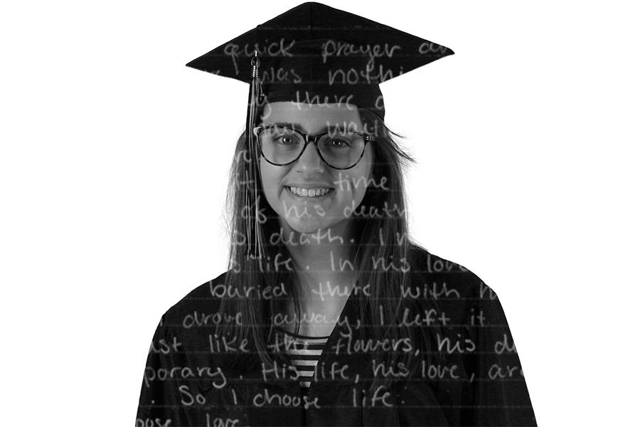 Senior+Mandy+Halbert+has+a+way+with+words+and+will+continue+to+pursue+her+love+of+storytelling+as+a+journalism+major+in+college.