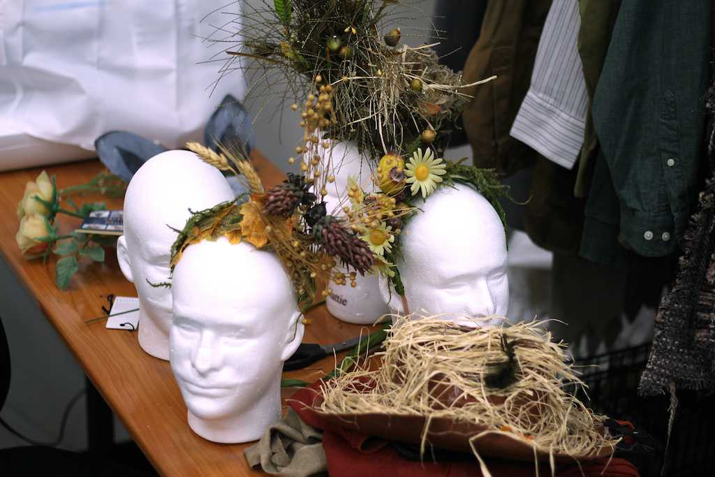 The theatre department is crafting head pieces for actors to wear in the production of A Midsummer Night's Dream.