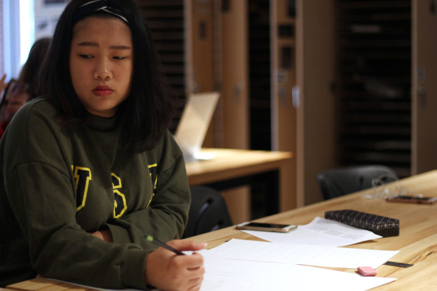 Junior Joy Chou participates in Art for her first year as a exchange student.