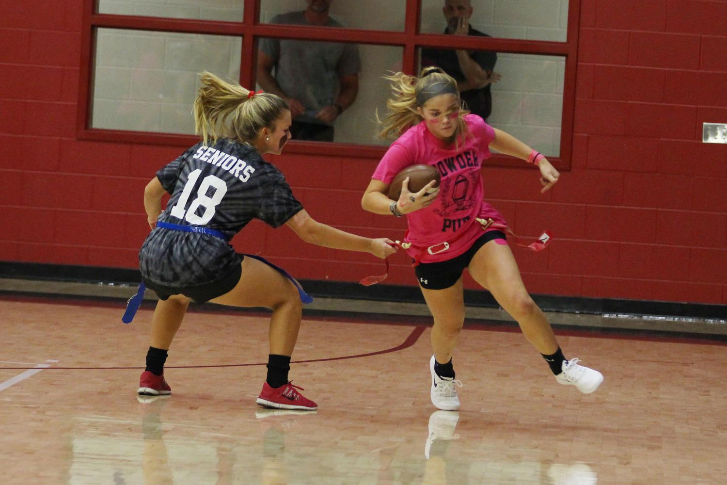 Current sophomore Hailey Downing attempts to break free from a defender in the 2017 LPPL games.