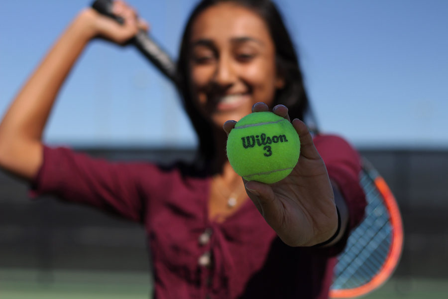 Sophomore+Sunessa+Madhav+looks+forward+every+day+to+getting+on+the+tennis+court.