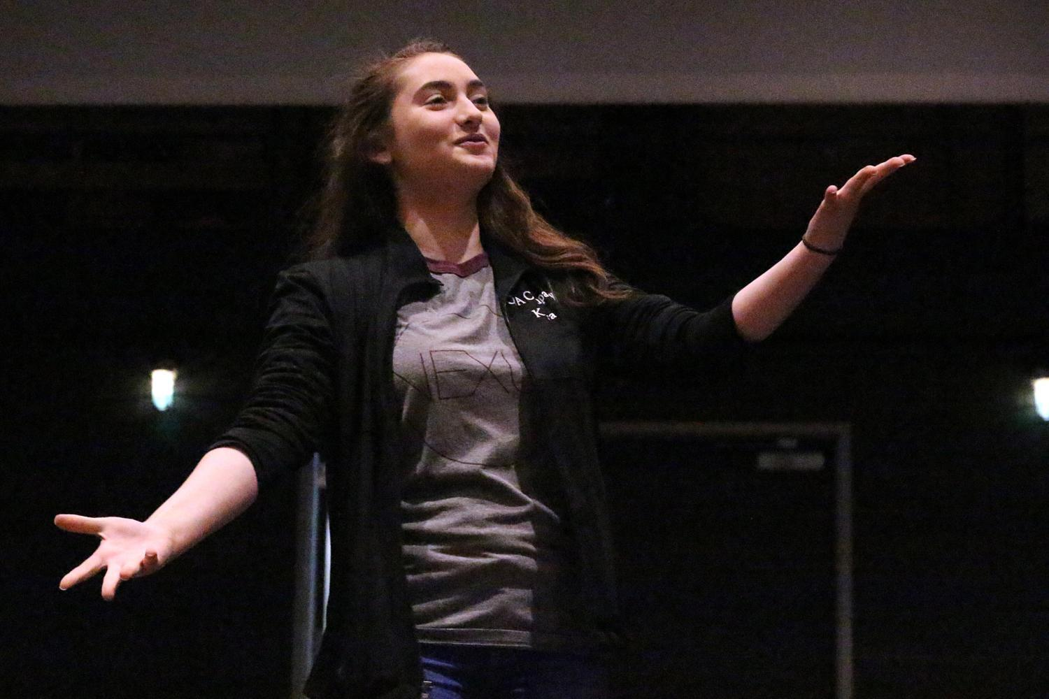 While sophomore Kyra Jacobs spends most of her day with her dance team, she also makes time to be a part of the theatre and choir program.