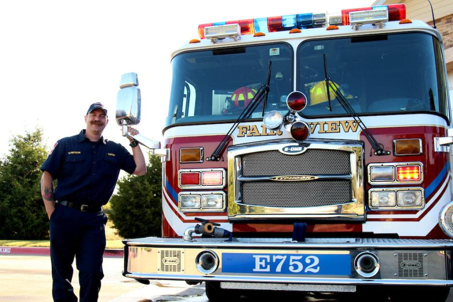 Ted Fritzler, captain of Fire Station 2, serves in Fairview with his wife,  Officer Victoria Fritzler.