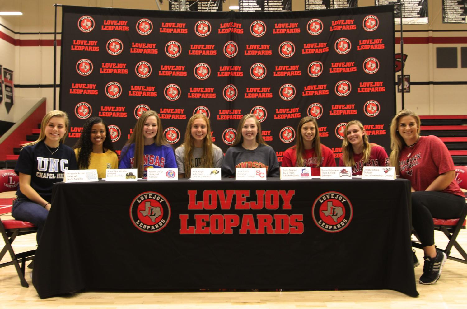 Student-athletes committed to playing their respective sports, including volleyball, cross country, track and field, and softball, at the collegiate level.
