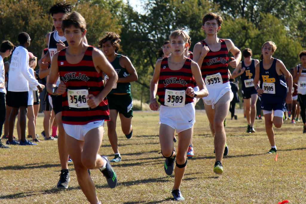 Junior Michael O'Brien and Sophomore Blake Hinton in the first leg of the district meet.