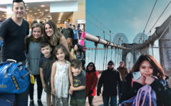 [Left] Abby Bryant poses with her host family in Vancouver, Canada. [Right] Ellie Stockton visits the Brooklyn Bridge in New York.