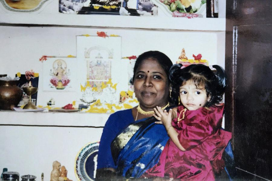 A young Radhakrishnan and her grandmother.