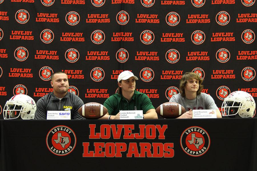[From left to right] Senior football players Kade Ashley, Landon McDermott and Jared McLemore signed to Southwestern Assemblies of God, Dartmouth College and Minnesota Crookston respectively.
