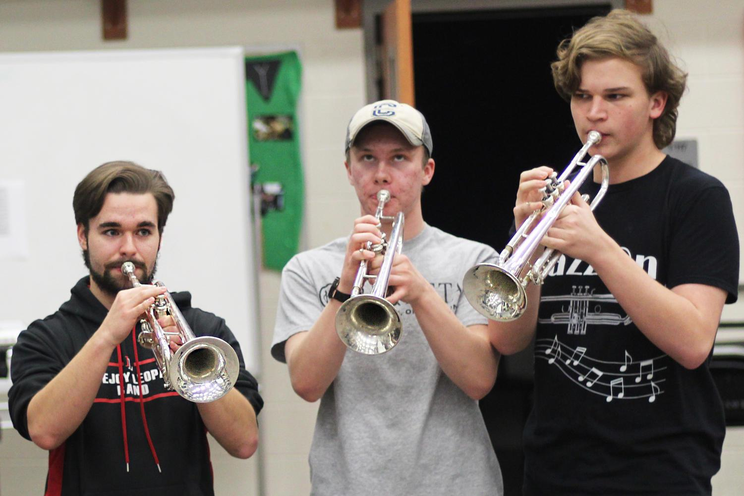Senior Patrick O'Brien, Sophomore Jake McTee, and Junior Sam Oats all play the trumpet in the Jazz band.