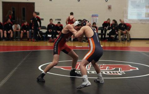 Sophomore David Gold challenges an opposing wrestler.