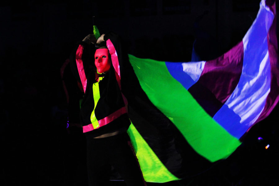 Color Guard incorporated neon duct tape and multicolored flags into their routine.