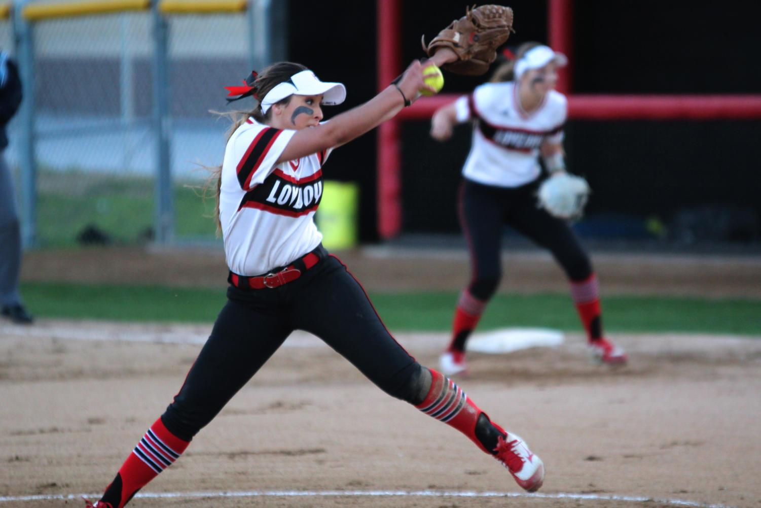 Sophomore Harleigh Bettis winds up to pitch in a game against West Mesquite.