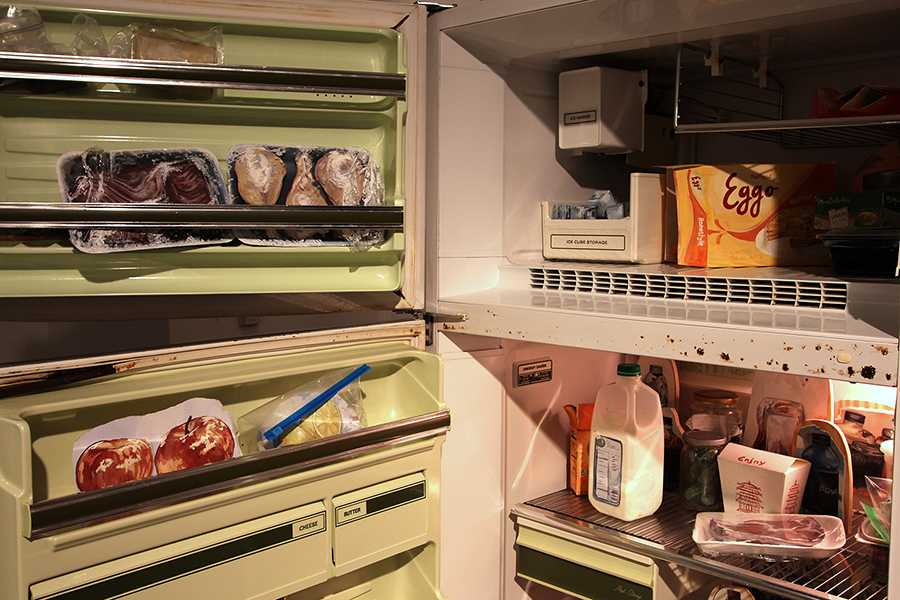 Wigginton created about 50 pieces of artwork that are placed inside and outside of the fridge.