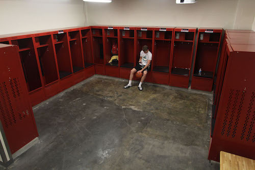 The basketball locker rooms, along with other locker rooms, have been renovated over the past year.