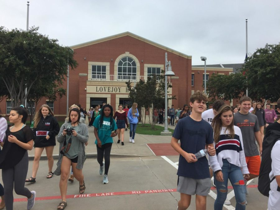 Students evacuated for the second time during B lunch.
