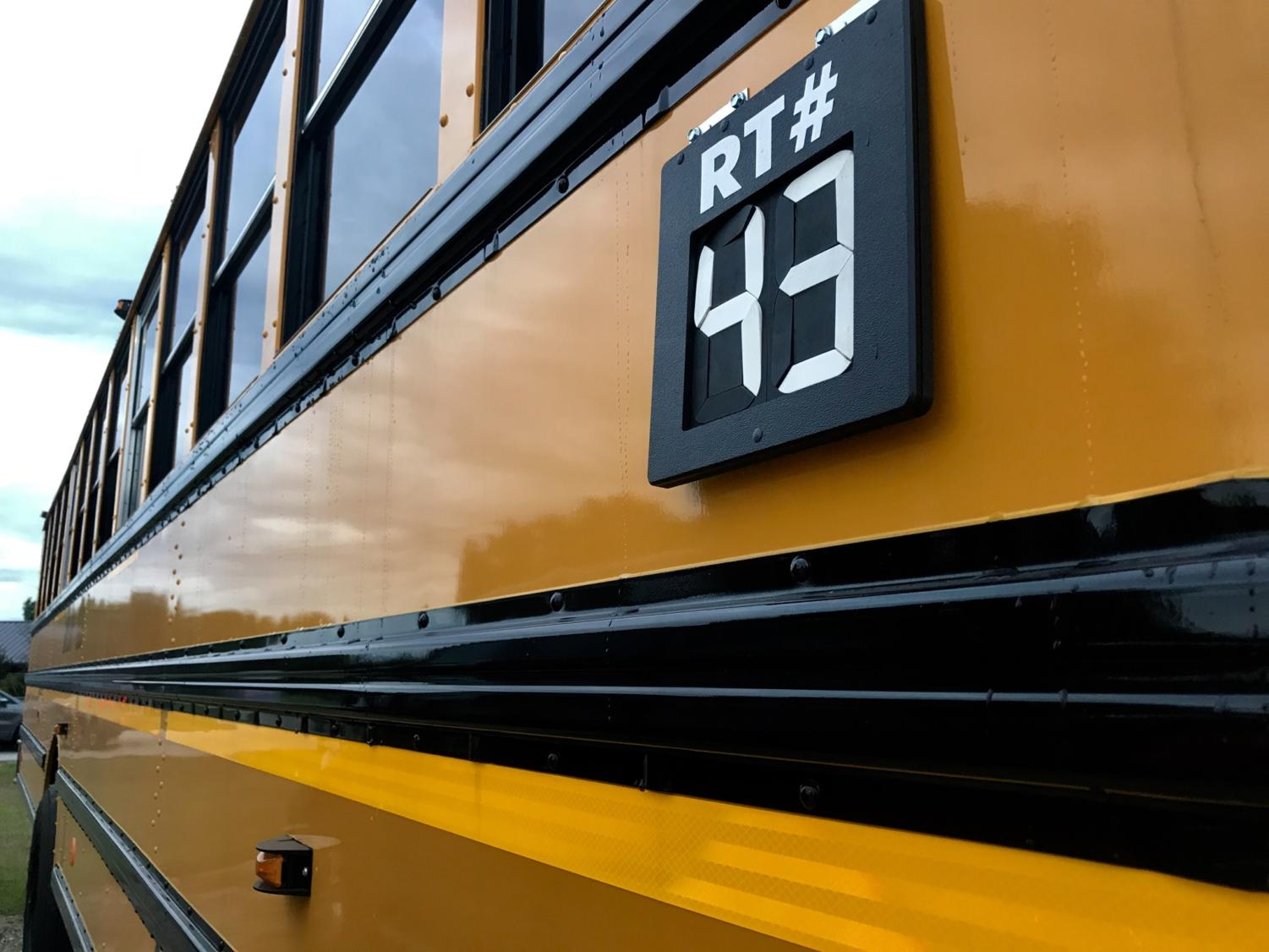New school buses now have overhead storage areas, a renovated air conditioning system and seatbelts.