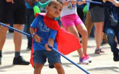 A child participates in