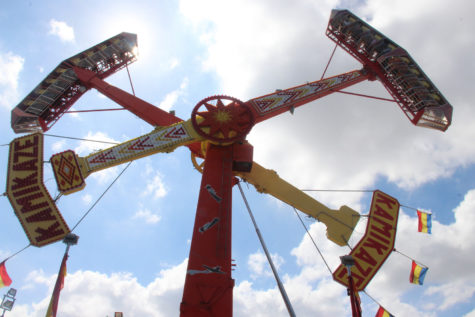 The Kamikaze ride swings passengers upside down in the air and into a 360 degree rotation.