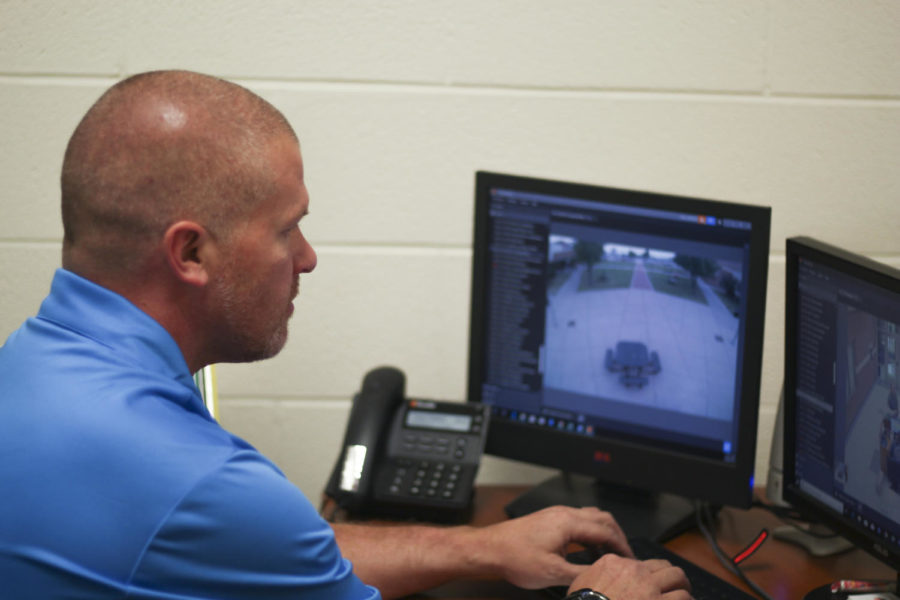 Campus+security+officer+Casey+Littlefield+monitors+the+courtyard+via+security+cameras.++