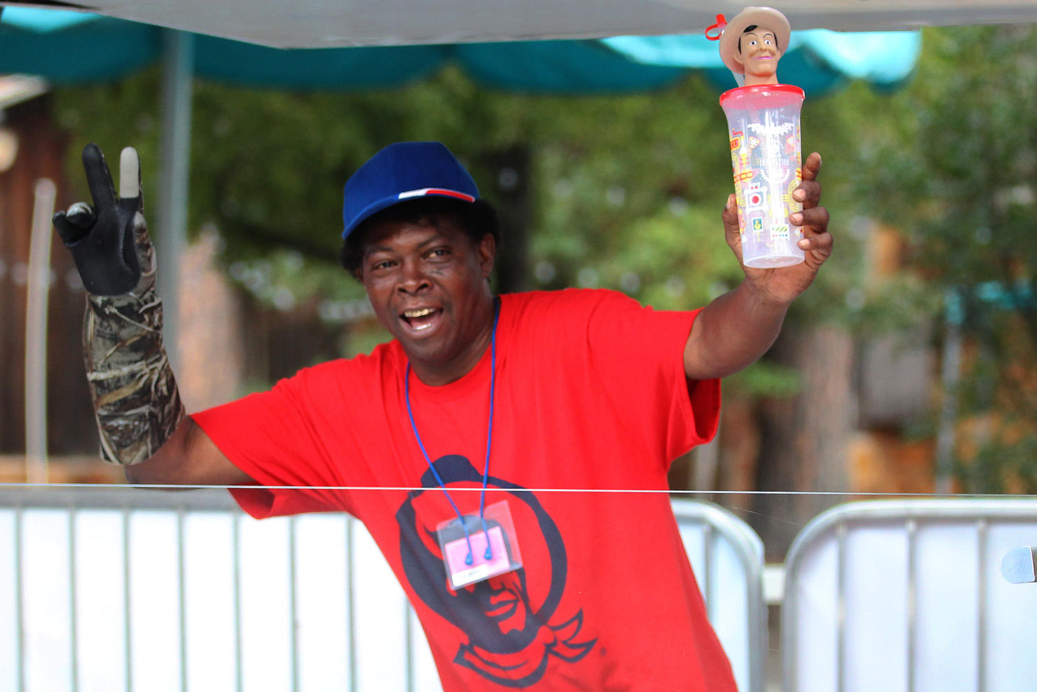 Lester Jenkins sells the cheapest water in the Fair Park at the price of only two tickets near the entrance of the State Fair. He loves the job and plans on returning every year.
