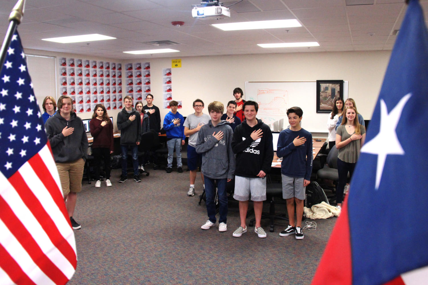 An announcement commences daily during 3rd period to guide students and faculty in reciting the pledges and participating in a moment of silence.