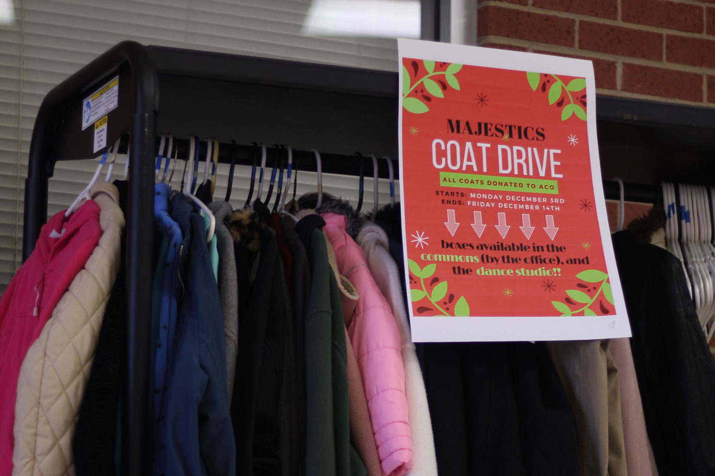 The coat drive will end Friday, Dec. 14.