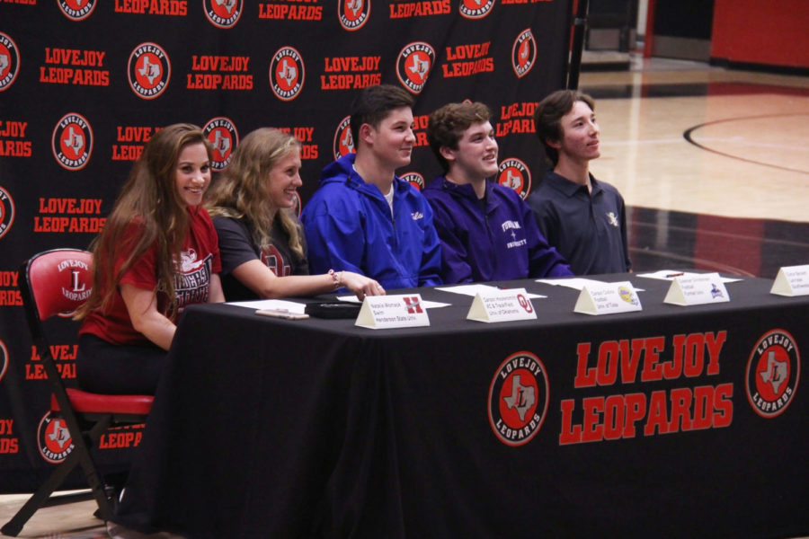 Seniors (from left to right) Natalie Womack, Carson Hockersmith, Carson Collins, Coleman Christensen and Conor Beckett pose at National Signing Day.