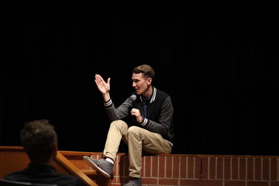 Scott Backovich talks to the sophomore class about depression.