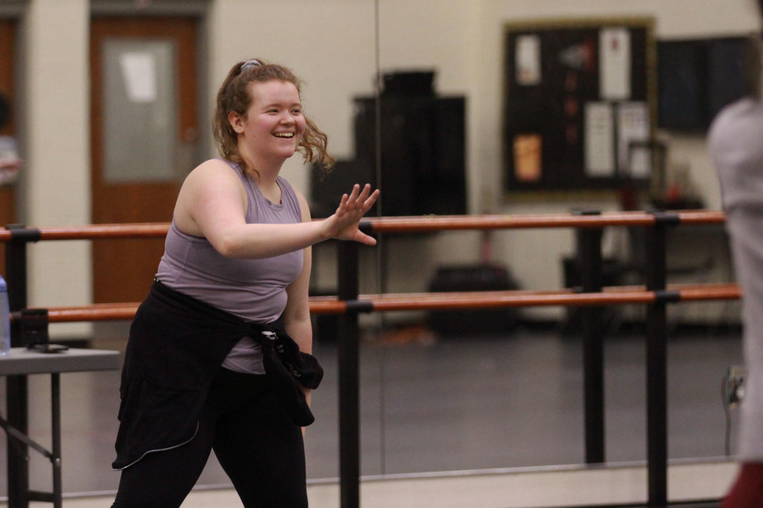 Lyndsey Toft demonstrates a dance move.