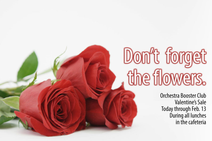 Roses and chocolates will be on sale through Feb. 13. All proceeds benefit the orchestra program.