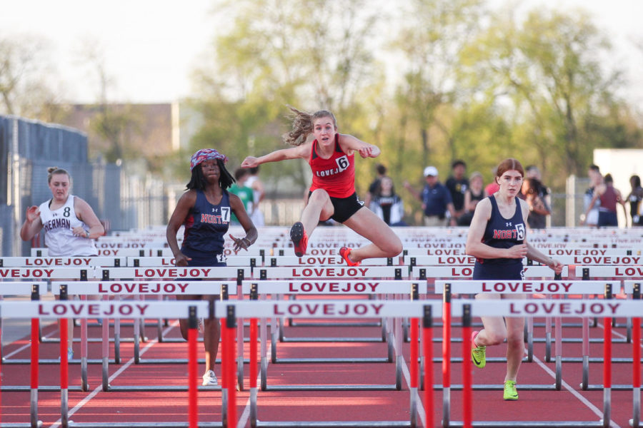 Freshman Lakin Hockersmith competes in the 100M Hurdles.