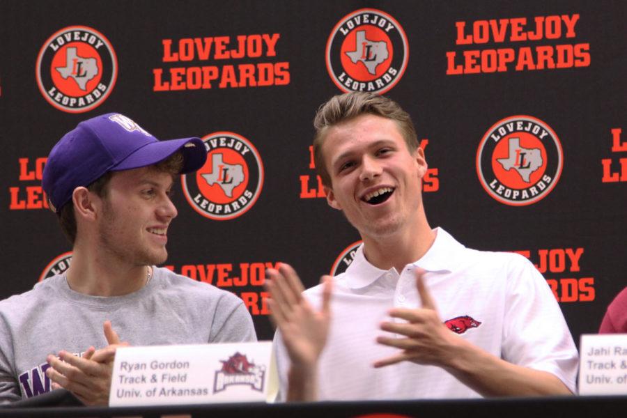 Ryan Gordon and Jackson Diamond laugh during Coach Alex Duran's speech regarding Diamond's goal-keeping career.