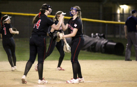 A win tonight would put the softball team in a tie for first place in the district.