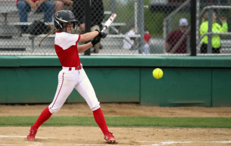 Sophomore Sydney Provence hits during the third inning.