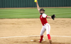 Sophomore Sydney Provence throws a pitch in Tuesday's game against Denison.