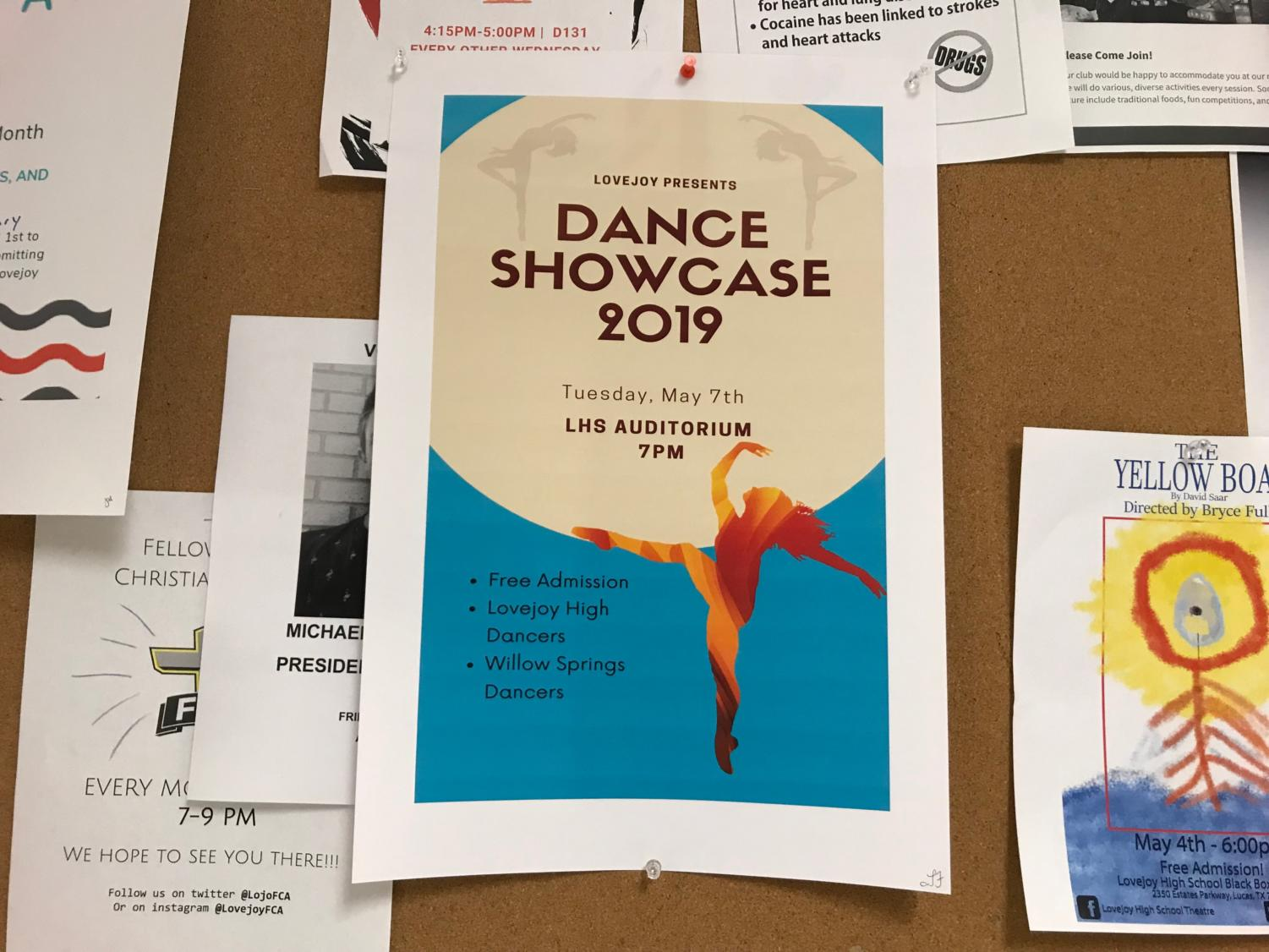 The dance department's spring showcase with occur tonight at Lovejoy High School at 7:00 P.M.