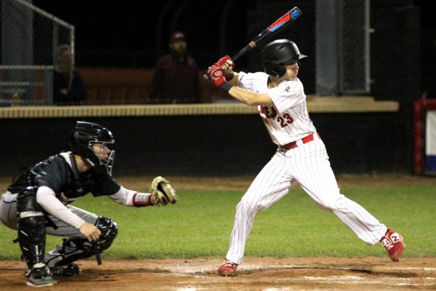 Freshman Kolby Branch times up a pitch from Princeton's pitcher.