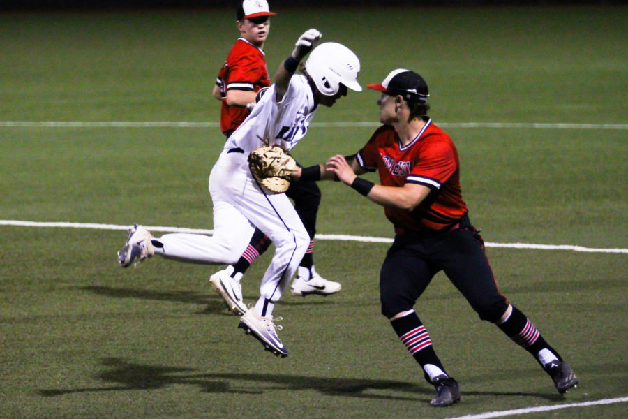 Senior Michael DiFiore makes an out against a Lone Star batter.
