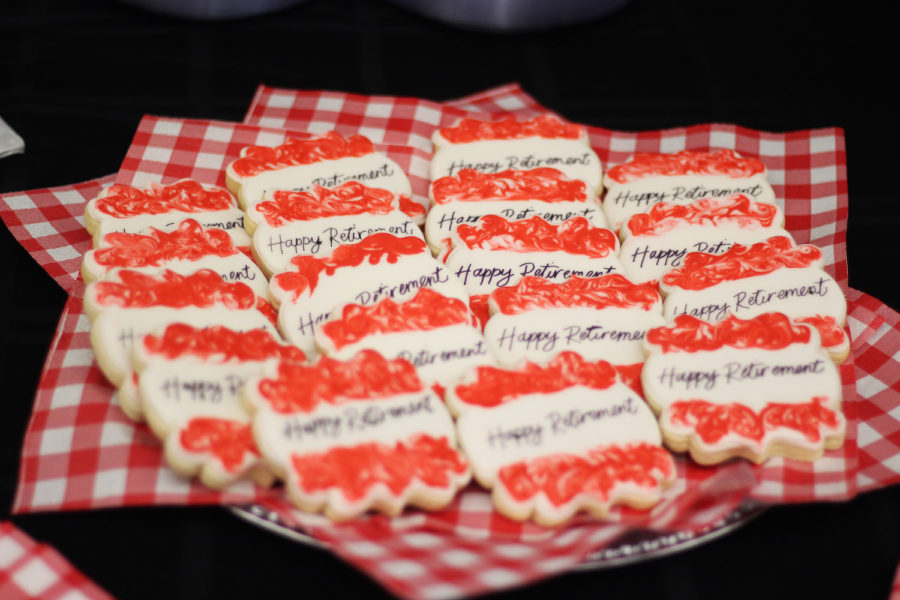 Fleming's retirement party featured kind words and decorated cookies as people expressed their love for her retirement.
