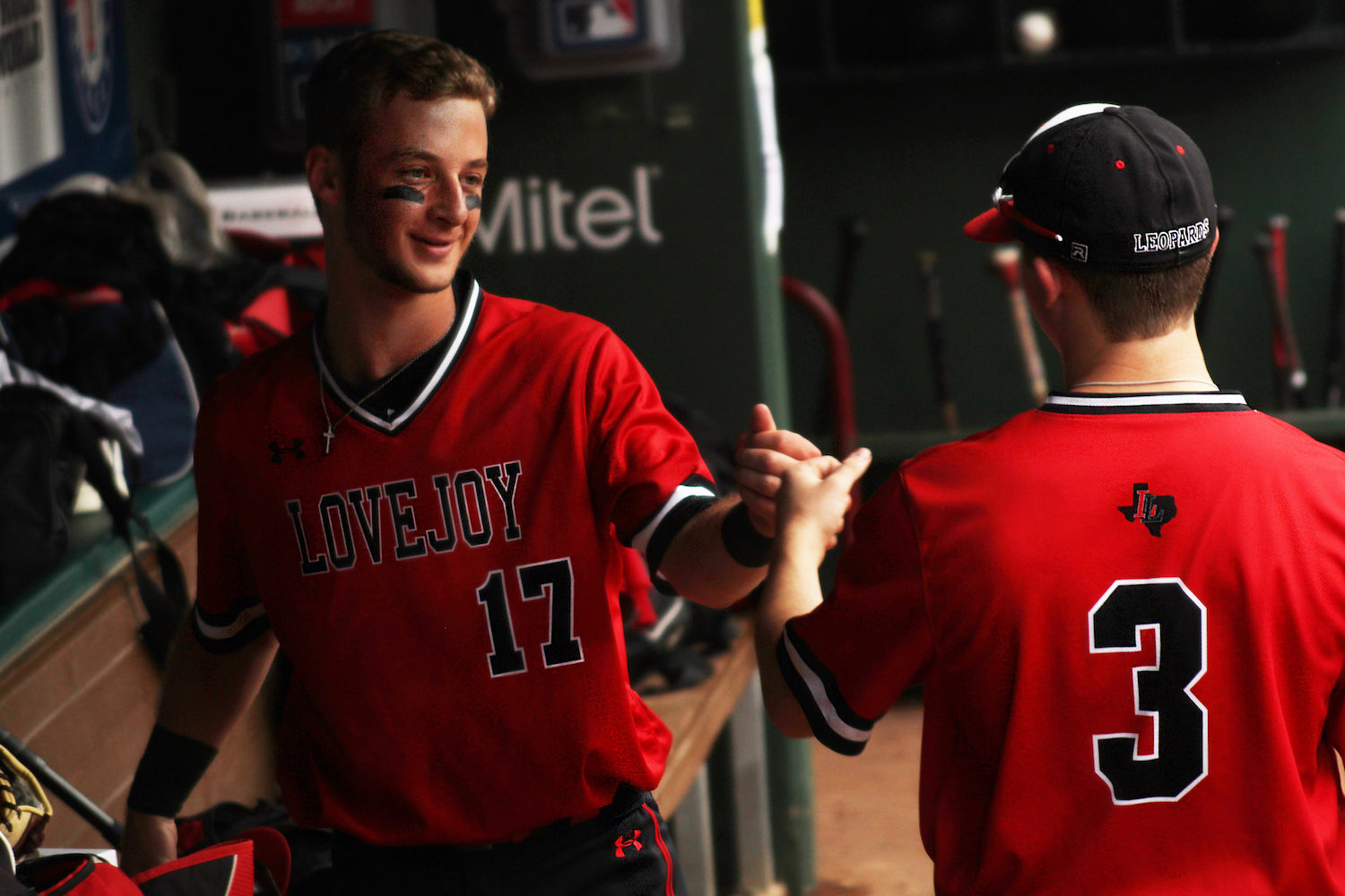 Junior+Benjamin+Nopper+congratulates+Senior+Cade+Smitherman+at+the+end+of+the+fourth+inning.+