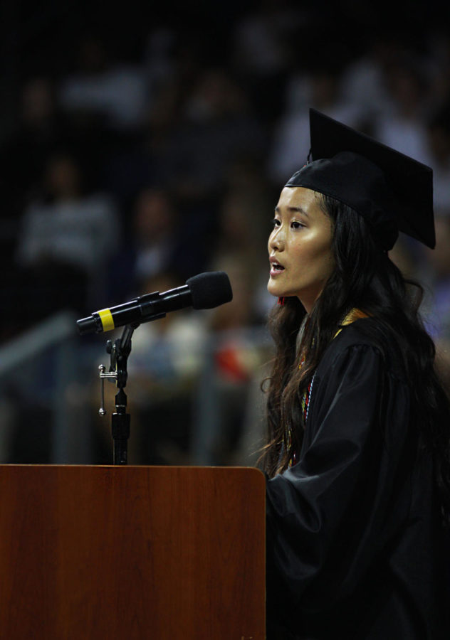 Valedictorian Katherine Guo addresses the senior class during her valedictory address. Guo intends on attending the Massachusetts Institute of Technology in the fall .