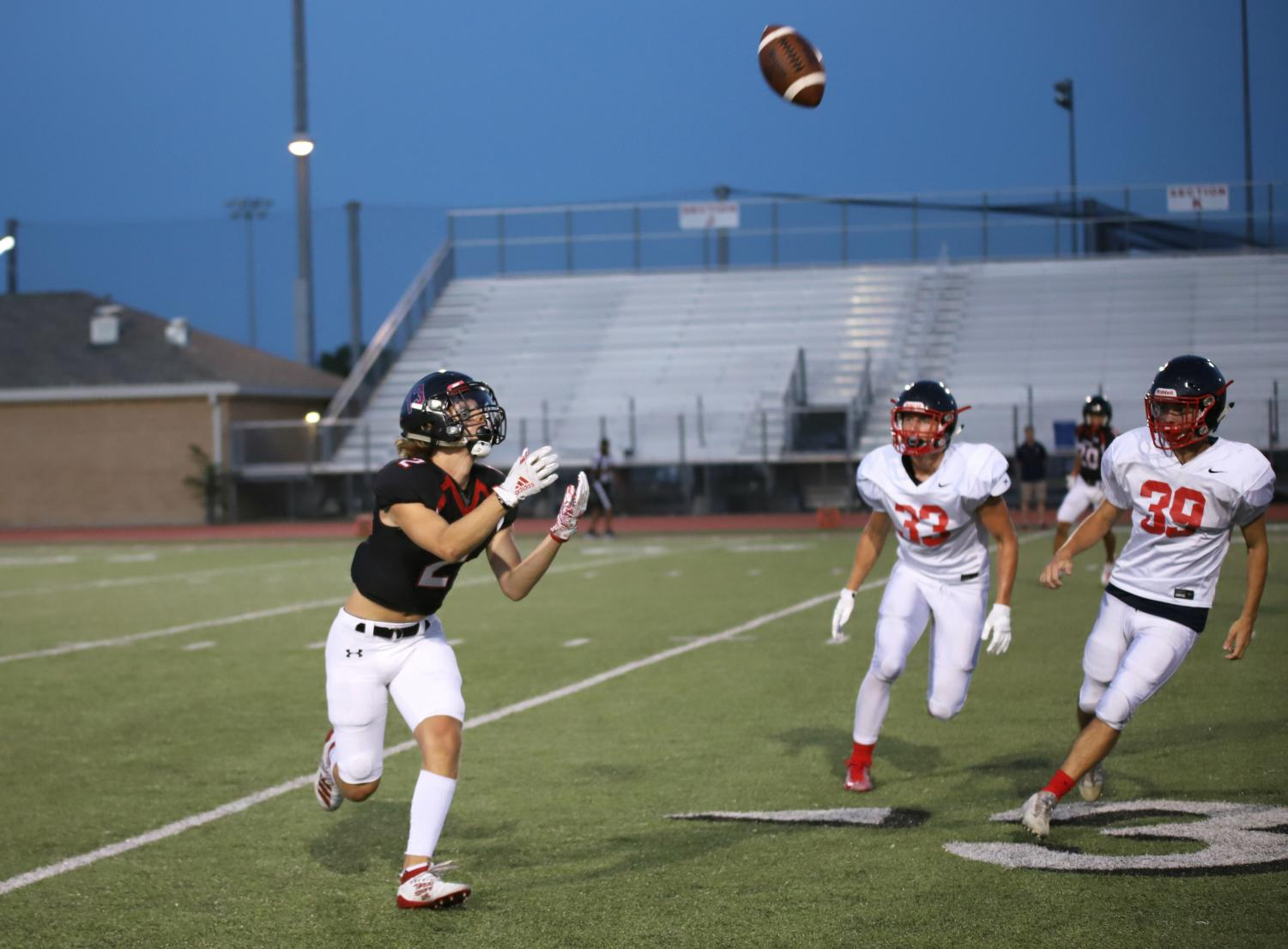 Junior+Luke+Mayfield+receives+a+punt++from+Frisco+Centennial+and+returns+the+ball+beyond+the+30+yard+line.