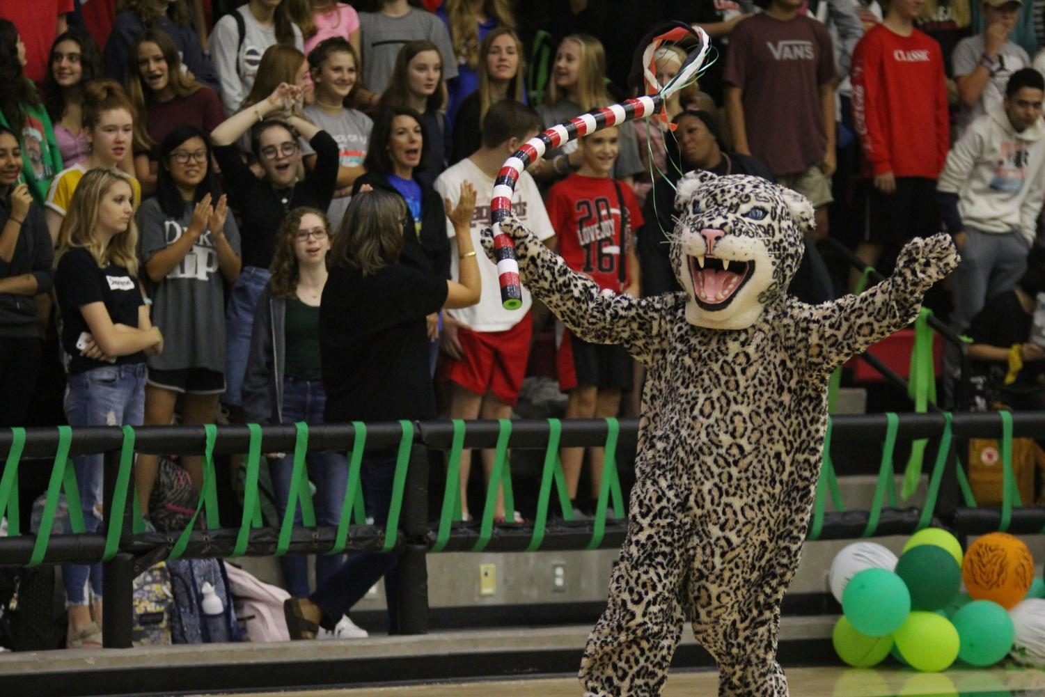 The+mascot+Leo+the+Leopard+runs+around+the+gym+during+the+school%E2%80%99s+first+Leopard+Battle+Cry.+Leo+later+threw+the+spirit+stick+into+the+crowd+of+seniors+as+they+won+the+title+for+most+spirited.+