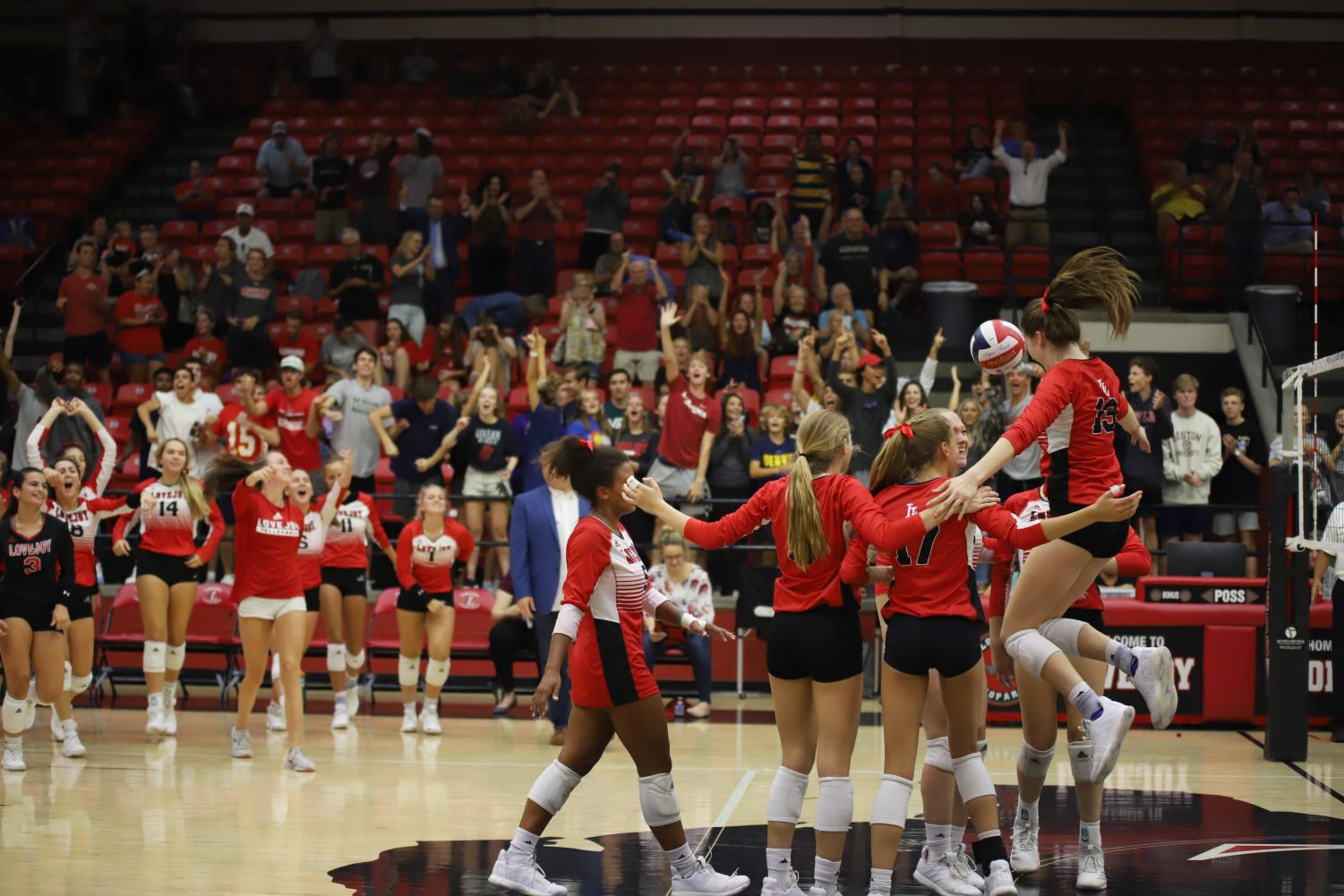 The+Leopards+celebrated+after+a+three-set+sweep+against+Mckinney+Boyd.+On+Friday%2C+they+will+play+Sasche+in+a+non-conference+match.