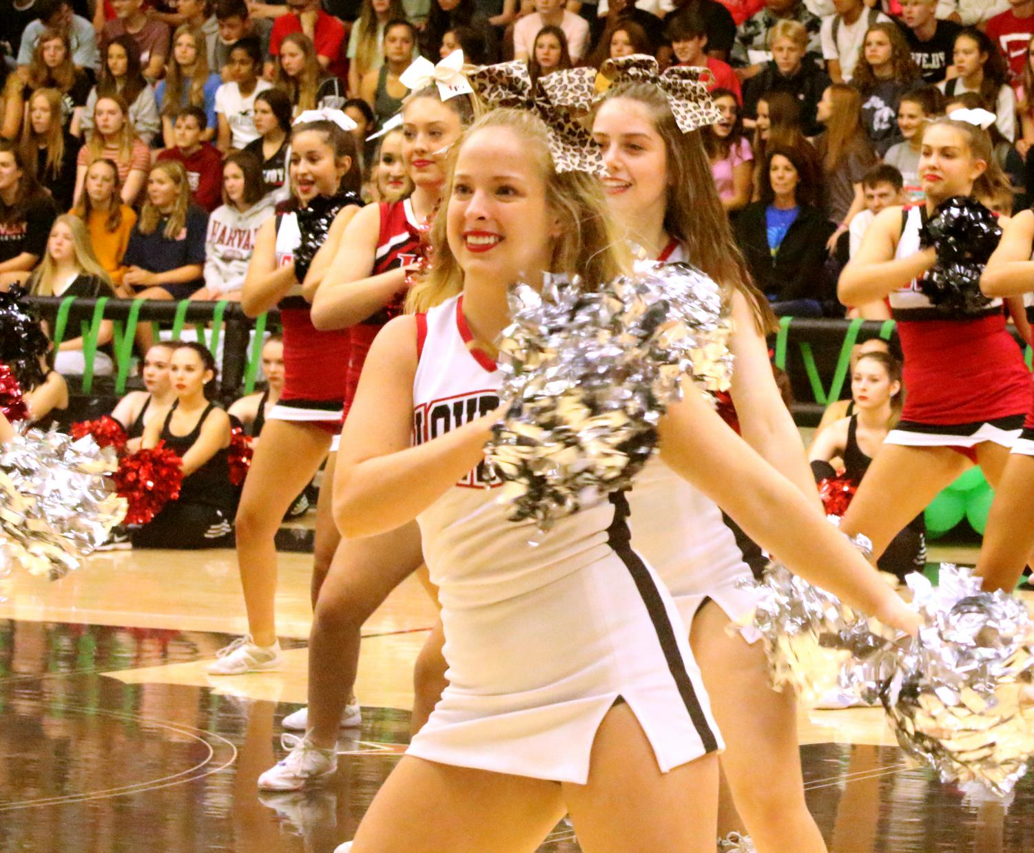 Madison+Kohl+puts+pep+in+her+step+during+the+opening+pep+rally+of+the+year.+With++cheer+season+starting+along+with+football+season%2C+they+are+hoping+for+a+bright+future.