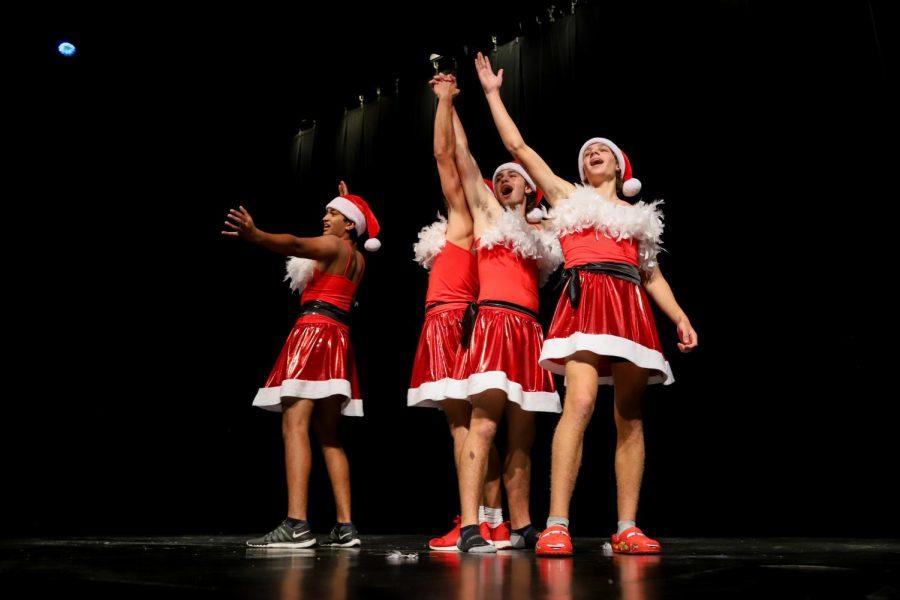 Senior Nick Dodda, junior Hayes Anderson, senior Matt Piccirillo, and sophomore Jake Piccirillo perform the Mean Girls dance for Matt Piccirillo's talent piece.