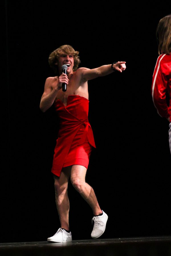 Mr. Lovejoy contestant Zane Edwards has a wardrobe malfunction in the middle of his performance.