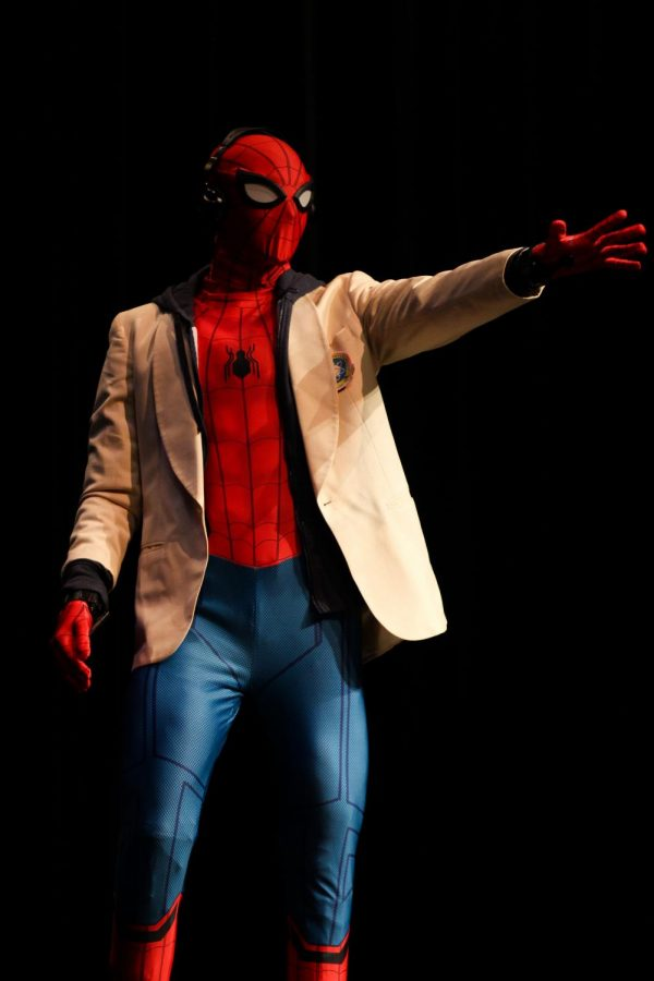 Mr. Lovejoy contestant Michael Walters dawns the cowl of Spiderman as he sings a parody of