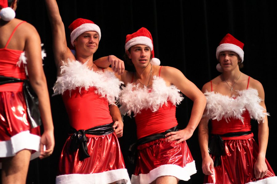 Mr. Lovejoy contestant Matt Piccirillo dances with Hayes Anderson and Jake Piccirillo for the talent portion of the competition.