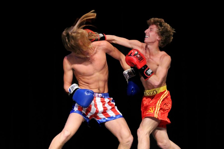 Mr. Lovejoy contestants Zane Edwards (Right) and Brady Laboret (Left) fight during the athletic wear portion of the competition.